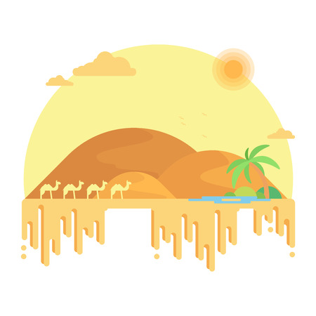 A caravan of camels goes to an oasis. Illustration