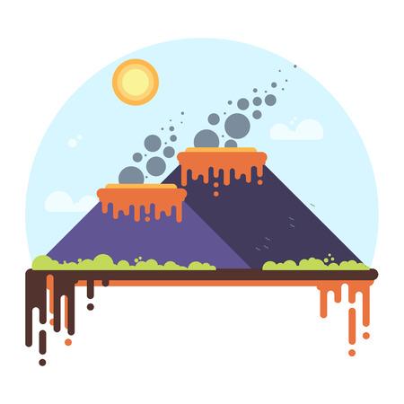 Two erupting volcanoes.
