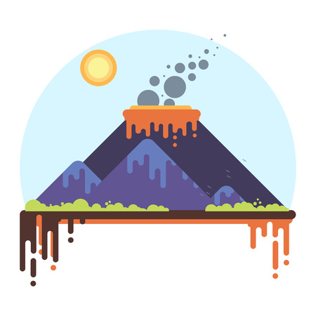 Mountain range with a smoking volcano. Flat Style Vector Illustration