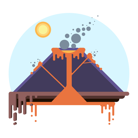 mountain ash: Cross-section of volcano. Eruption scheme on flat style vector infographic Illustration