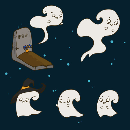 Set of cute ghosts in the cemetery for Halloween. Drawing by hand
