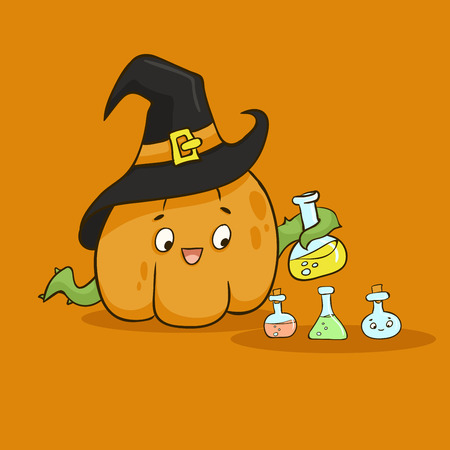 Halloween Pumpkin in a Witchs Hat with poison