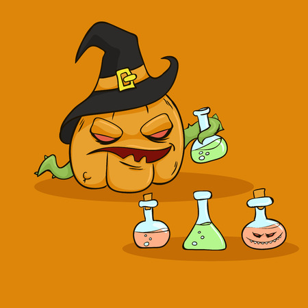 Angry Halloween Pumpkin in a Witchs Hat with poison
