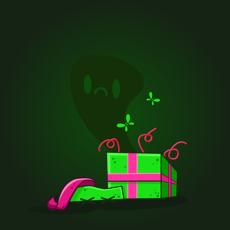 cute ghost: Vector color illustration of cartoon dead gift box on dark background. Object image to create original web games or graphic design Illustration