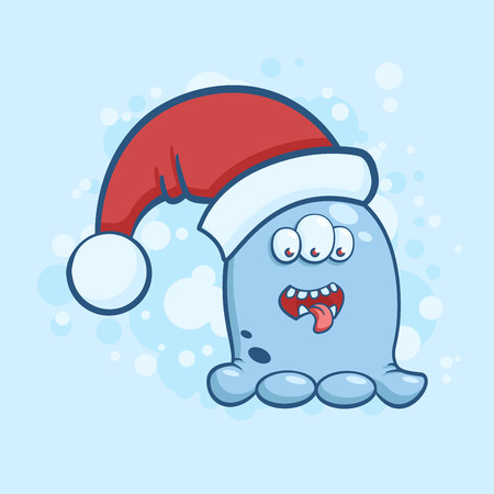 Vector color illustration of cartoon three eyed monster in a Santa Claus hat on snowy background. Object image to create original web games or Christmas card