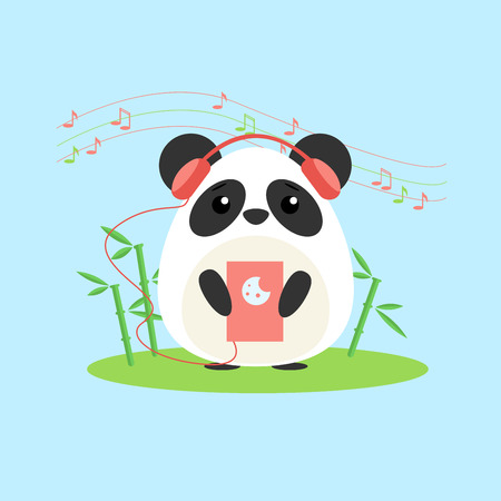 Vector illustration of anthropomorphic panda who listens to music from device. Cute cartoon anime style
