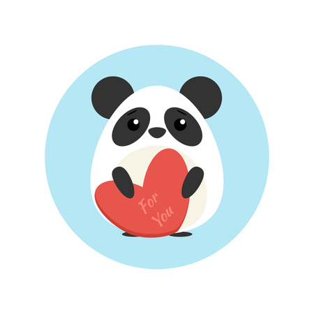 Vector illustration of cute panda with heart shape in paws in blue circle on background Illustration