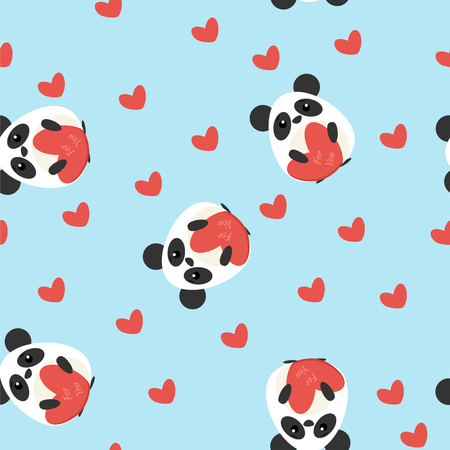 Funny seamless pattern with cute pandas and heart shapes. Flat design illustration