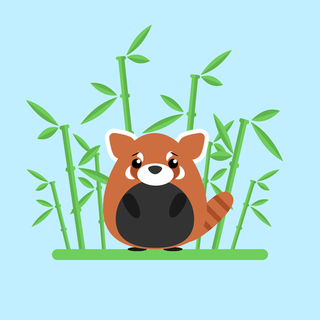 Cute baby red panda standing between the bamboo on blue background. Ilustração