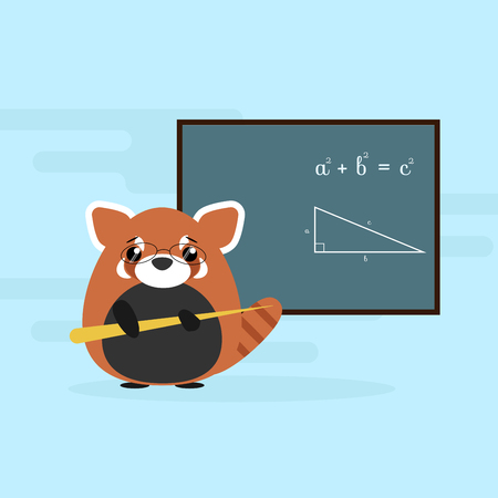 Anthropomorphic red panda - teacher standing with board and teaching of geometry theorem. Cute vector illustration
