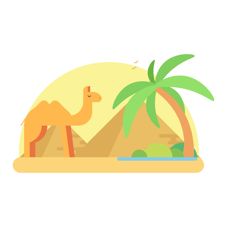 A camel stands near an oasis on the background of the pyramids of a giza. Flat illustration