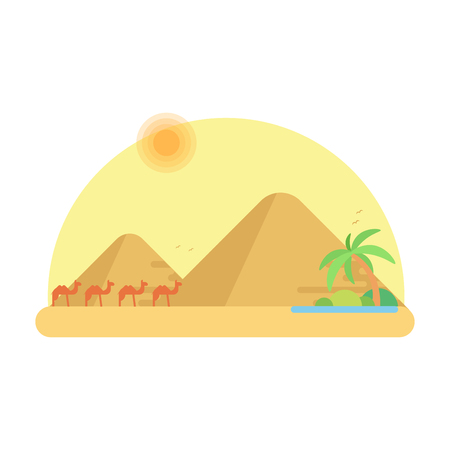 Caravan of camels goes to the oasis against the background of pyramids of giza. Flat vector illustration