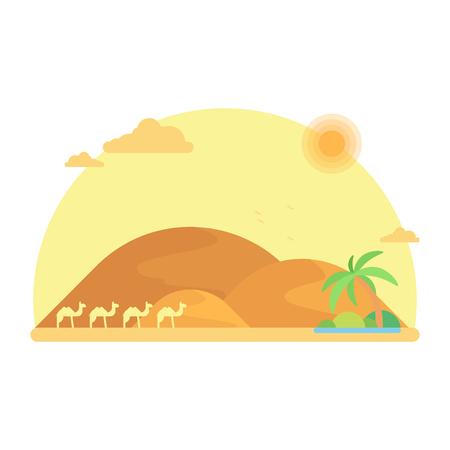 A caravan of camels goes to an oasis among the dunes. Flat design illustration Illustration