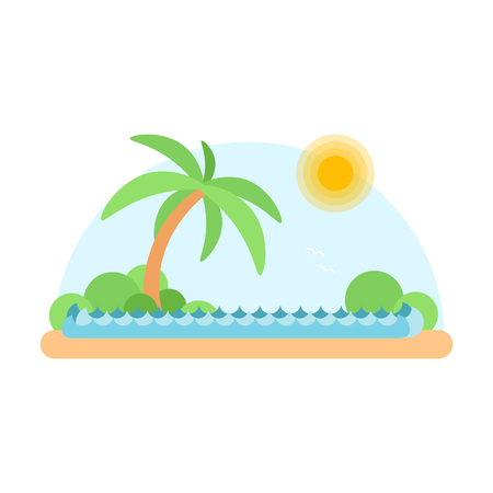 Flat design of desert oasis. Cartoon illustration
