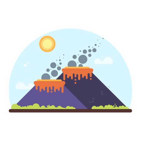 Two smoking volcanoes on island. Flat Style Illustration Ilustração