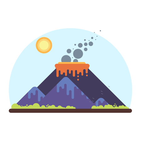 Mountain range with a smoking volcano. Flat Style Illustration