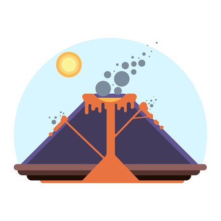 Schema of Volcano eruption with magma and lava. Cartoon illustration of nature blowing up with smoke