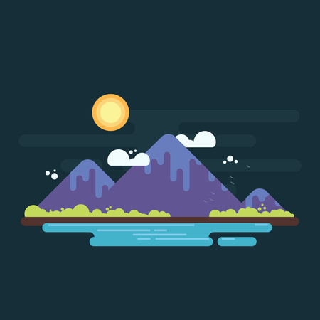Mountain range with greens on horizon and lake on foreground. Simple flat design illustration
