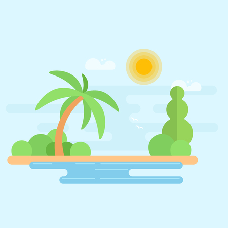 Tropical beach with palm tree and ocean. Summer vacation flat vector Illustration