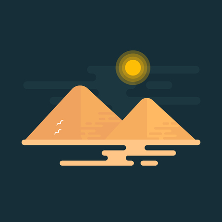 Two great pyramids of giza under the sun on black background. Flat vector design