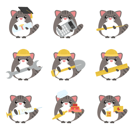 Vector set of gray cats various professions: Scientist, accountant, teacher, engineer, worker, builder, doctor, baker, programmer. Cute cartoon illustration