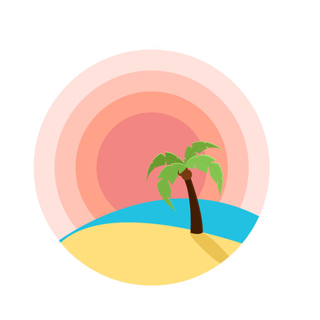 Vector illustration of sunset on beach with palm tree. Flat design for logo, sites or product design Stock Vector - 91670732