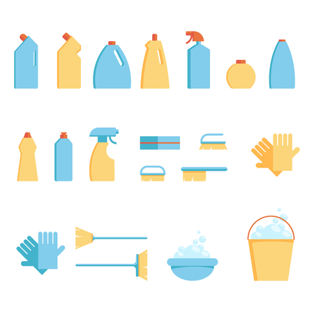 Vector set of tools for spring cleaning: detergents in bottles, sponges and brushes.