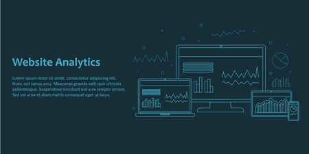 Web banner with illustration of different devices demonstrating website analytics interface. Line art on dark background