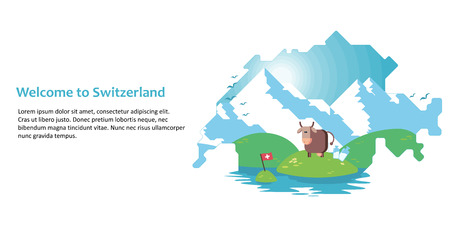 Double exposure, silhouette of a map of Switzerland with the Alps, meadow, cow and milk. On white background. Vector illustration for sites or product design Vectores