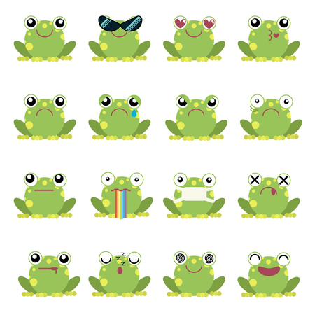 Vector illustration set of frog emoticons