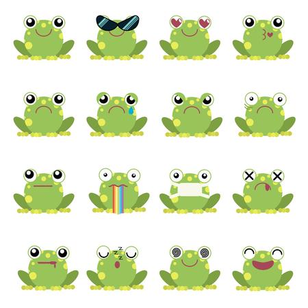 Vector illustration set of frog emoticons
