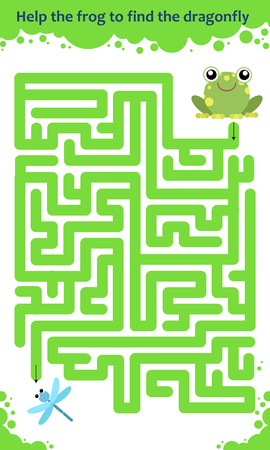 Vector maze game. Help the frog to find the dragonfly. Children educational game Illustration