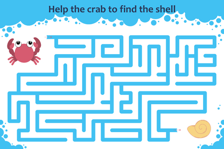 Vector maze game. Help the crab to find the shell. Children educational game