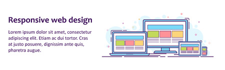 Web banner with illustration of devices with different view 向量圖像