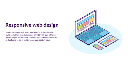 Flat line isometric illustration of devices with different view one web page. For demonstration responsive web design. 일러스트