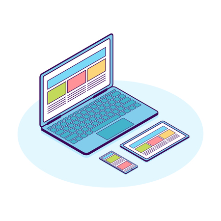 Isometric flat line illustration of computer, phone and tablet. For demonstration responsive web design.