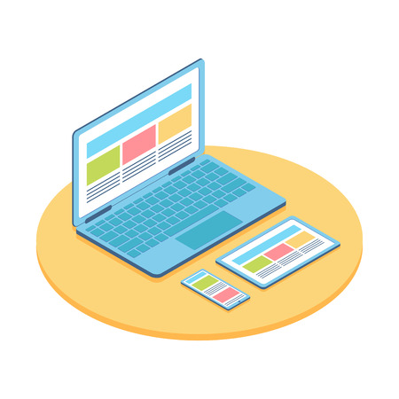 Isometric flat illustration of computer, phone and tablet. For demonstration responsive web design.