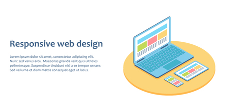 Flat isometric illustration of devices with different view one web page. For demonstration responsive web design.