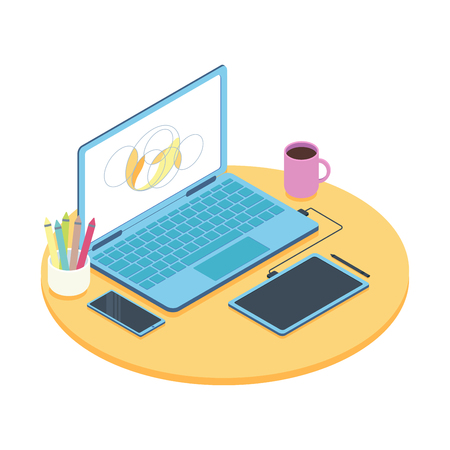 Isometric concept of designer workplace with computer and graphics tablet. Vector illustration. 向量圖像