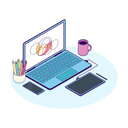 Isometric concept of designer workplace with computer and graphics tablet. Flat line vector illustration.