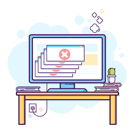 Thin line flat design of modern office work-space with desktop computer with critical error. 向量圖像