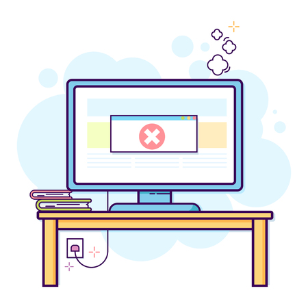 Thin line flat design of modern office work space with desktop computer