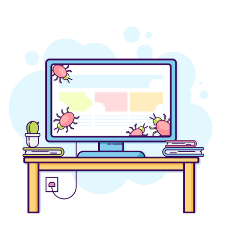 Flat line illustration of office computer with viruses.
