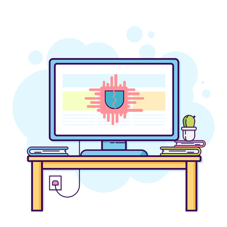 Flat line illustration of office computer with cracked security. 向量圖像