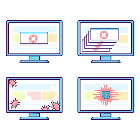 Vector set of computers with different security problems 向量圖像