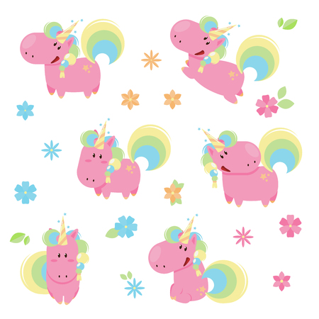 Vector illustration of cute pink unicorns in different poses. 向量圖像