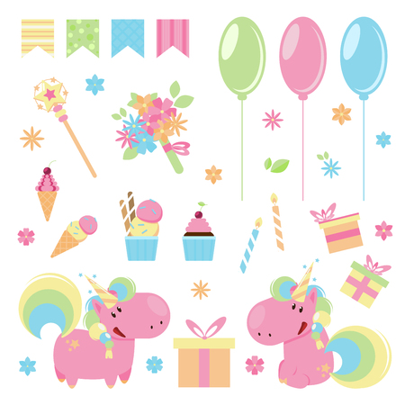 Vector illustration of cute pink unicorns with Happy birthday elements. 向量圖像