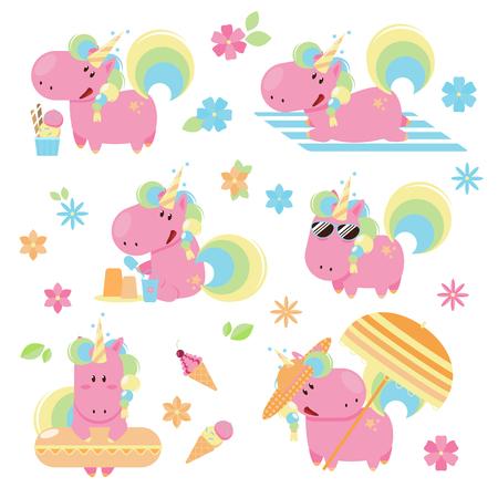 Set of cute and fun summer pink unicorn on a beach 向量圖像