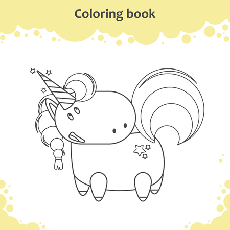Color the cute cartoon unicorn - coloring page for kids Vector illustration 向量圖像