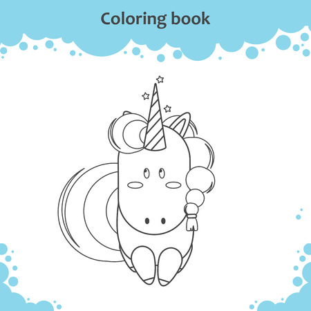 Color the cute cartoon little unicorn - coloring page for kids Vector illustration 向量圖像